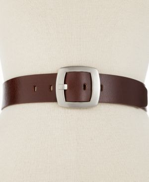 LEATHER PANT BELT WITH CENTERBAR BUCKLE