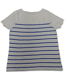 Petite Striped Cotton Eyelet Top, Created for Macy's