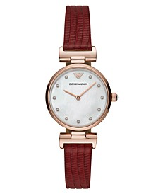 Women's Reversible Red & Brown Leather Strap Watch 28mm