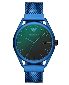 Men's Blue Aluminum Mesh Bracelet Watch 43mm