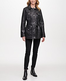 Belted Snap Front Leather Coat