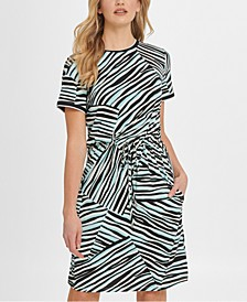 Animal-Print Drawstring T-Shirt Dress