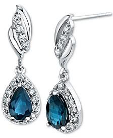 Sapphire (1 ct. t.w.) & Diamond (1/3 ct. t.w.) Drop Earrings in 14k White Gold