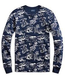 Men's Collegiate-Print Waffle-Knit Thermal Sleep Shirt