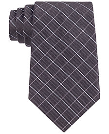 Calvin Klein Etched Large Grid Windowpane Slim Tie