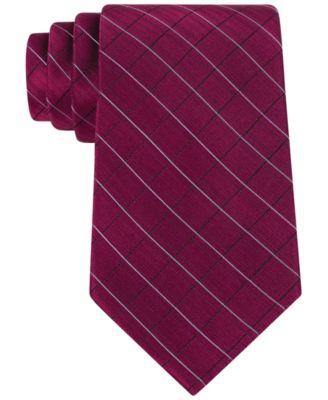 Etched Large Grid Windowpane Slim Tie