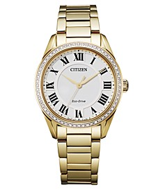 Eco-Drive Women's Arezzo Diamond Gold-Tone Stainless Steel Bracelet Watch 32mm