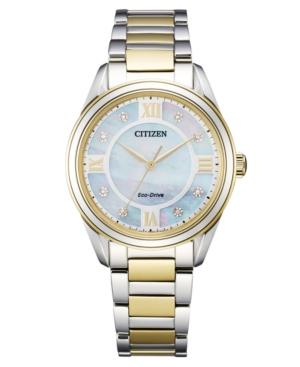 Citizen ECO-DRIVE WOMEN'S AREZZO DIAMOND-ACCENT TWO-TONE STAINLESS STEEL BRACELET WATCH 32MM
