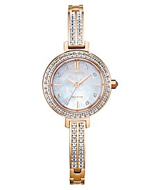 Eco-Drive Women's Pink Gold-Tone Stainless Steel & Swarovski Crystal Bangle Bracelet Watch 25mm