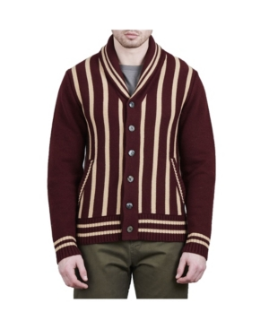 Men's Steampunk Clothing, Costumes, Fashion Crwth Mens Billy The Kid Shawl Collar Cardigan with Vertical Stripes Sweater $250.00 AT vintagedancer.com