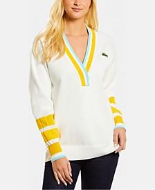 Striped-Collar V-Neck Sweater