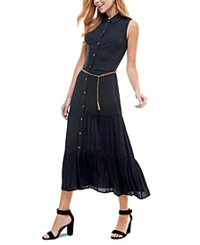 Juniors' Belted Maxi Shirtdress