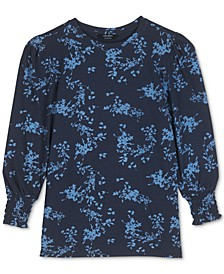 Printed Smocked-Cuff Top