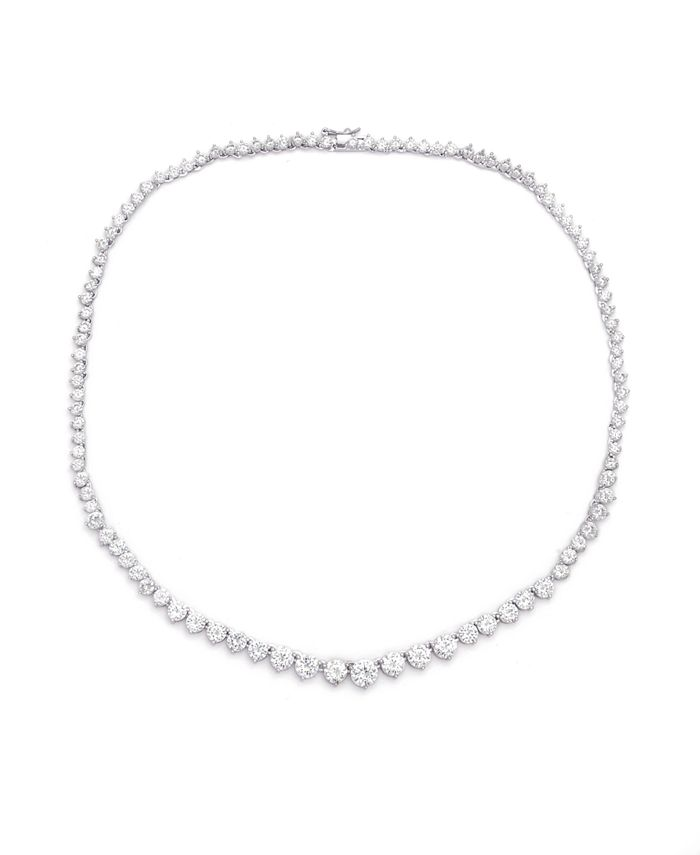Macy's - Graduated Cubic Zirconia Tennis Necklace In Fine Silver Plate