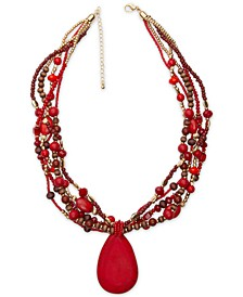 "Gold-Tone Stone Red Beaded Multi-Row Pendant Necklace, 24"" + 3"" extender, Created for Macy's"