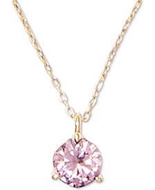"Cubic Zirconia 3-Prong Solitaire Mini Pendant Necklace, 15"" + 3"" extender"