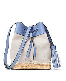 Lauren Ralph Lauren Leather & Canvas Espadrille Debby II Drawstring
