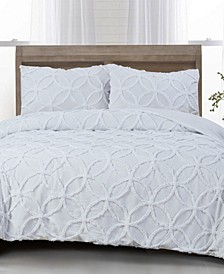 CLOSEOUT! Wedding Ring Cotton 3-Pc. Tufted Chenille Queen Comforter Set