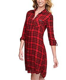 High-Low Plaid Shirtdress