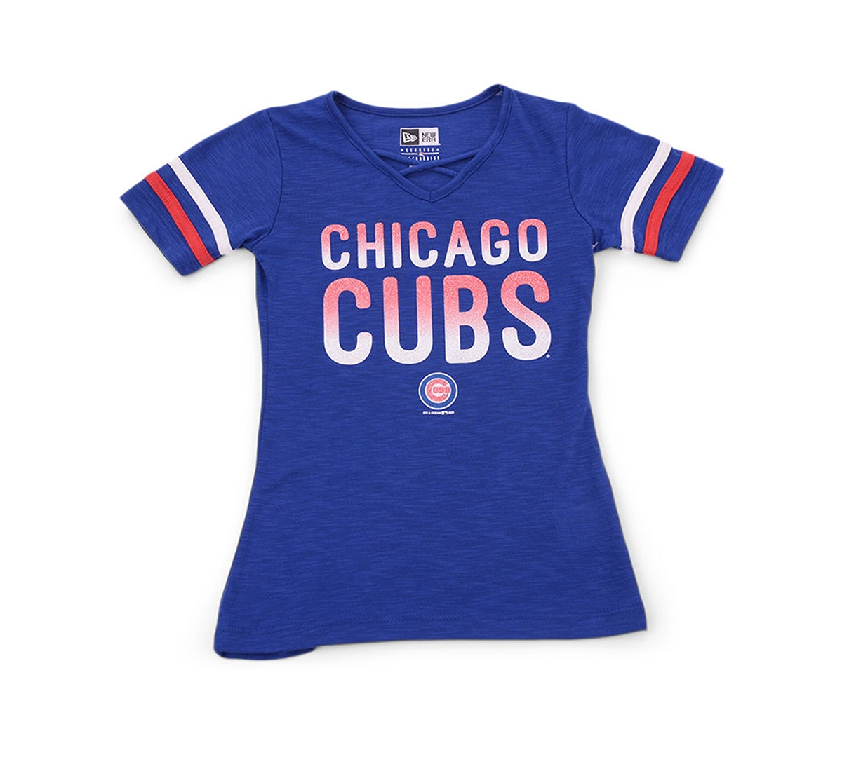 New Era Youth Girls Chicago Cubs Glitter Tie Up T-Shirt