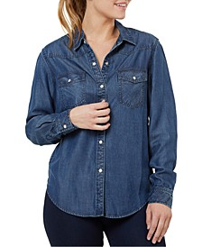 Button-Front Denim Shirt