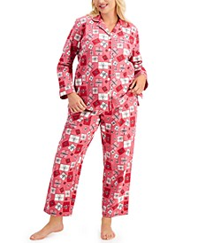 Plus Size Cotton Flannel Pajama Set, Created for Macy's