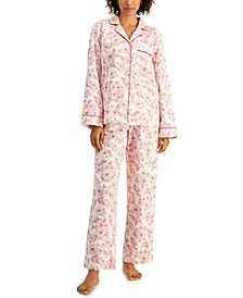 Petite Printed Cotton Flannel Pajama Set, Created for Macy's