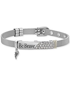 "Gratitude & Grace Crystal ""Be Brave"" Wing Charm Mesh Bracelet in Fine Silver-Plate"