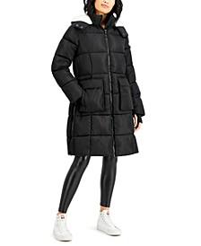 Juniors' Fleece-Lined Hooded Puffer Coat