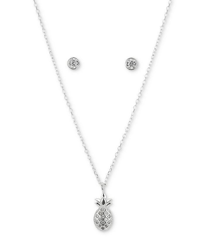 Unwritten - 2-Pc. Set Cubic Zirconia Pineapple Pendant Necklace & Round Stud Earrings in Fine Silver-Plate