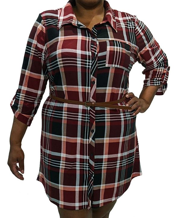 FULL CIRCLE TRENDS Trendy Plus Size Plaid Shirtdress