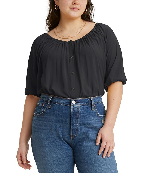Levi's Trendy Plus Size Gloria Shirred Blouse
