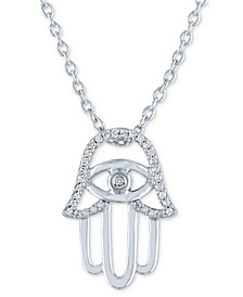 "Diamond Accent Hamsa Hand Pendant Necklace (1/20 ct. t.w.) in Sterling Silver, 16"" + 2"" extender"