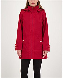 Zip-Front A-Line Hooded Raincoat