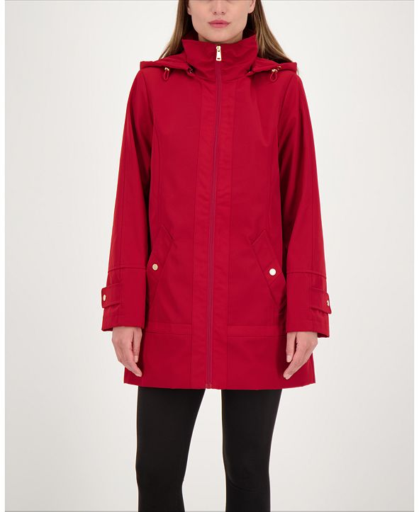 Jones New York Zip-Front A-Line Hooded Raincoat