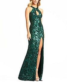 Sequinned Halter-Neck Gown