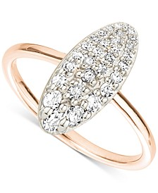 Diamond Pavé Oval Ring (1/8 ct. t.w.) in 18k Gold-Plated Sterling Silver