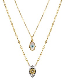 "2 Pc. Set Hamsa Hand & Evil Eye Pendant Necklaces in Fine Silver-Plate & Gold-Flash, 16"" + 2"" extender"