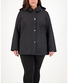 Plus Size Hooded Water-Resistant Quilted Coat