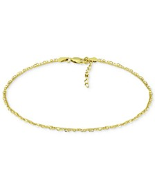 Double Chain Link Ankle Bracelet in Sterling Silver and 18k Over Silver, Created for Macy's
