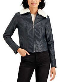 Juniors' Faux-Fur Collar Faux-Leather Jacket
