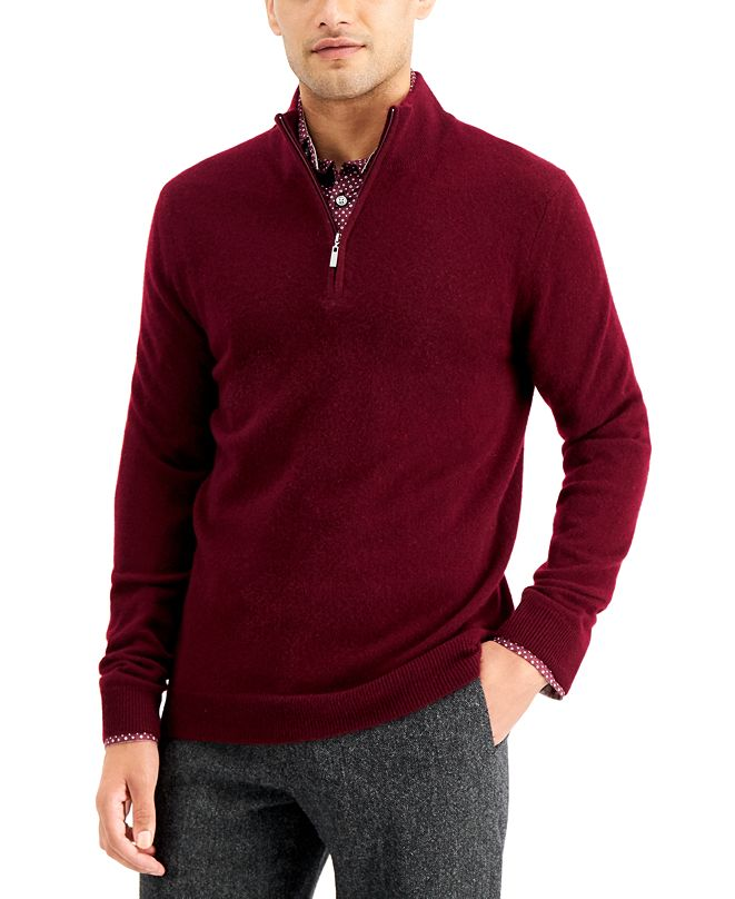 Tasso Elba Men's Quarter-Zip Cashmere Sweater, Created for Macy's