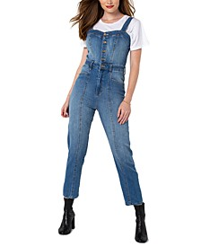 Juniors' Bralette Jean Jumpsuit