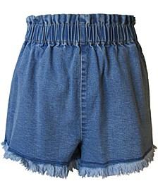 Juniors' Pull-On Frayed Denim Shorts