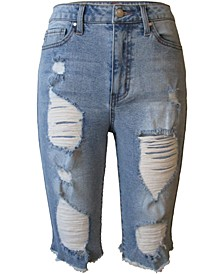 Juniors' High Rise Distressed Denim Bermuda Shorts