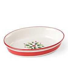 Holiday Handpaint Stripe Oval Dish