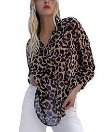 Animal-Print Georgette Top