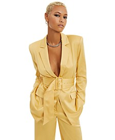 Belted Satin Blazer, Created for Macy's