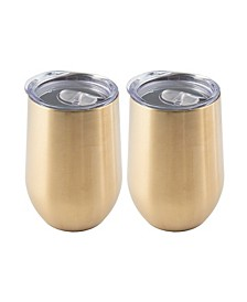 2 Pack Of 15 Oz Gold Stainless Steel Wine Tumblers
