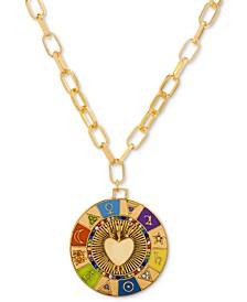 "Gold-Tone Multicolor Pavé & Multi-Symbol Heart 15"" Pendant Necklace"